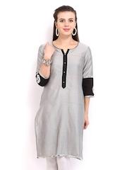 Anouk Women Grey Silk Blend Kurta