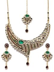 Anouk Green & Gold-Toned Jewellery Set