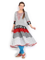 Anouk Women Black & White Printed Anarkali Kurta