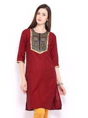 Anouk Women Red Embroidered Kurta