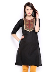 Anouk Women Black Embroidered Kurta