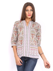 Anouk Women Off-White Printed Kurti