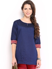 Anouk Women Navy Striped Kurti
