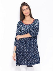 Anouk Women Navy Printed Tunic
