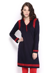 Anouk Women Navy with Red Trim Woollen Kurta