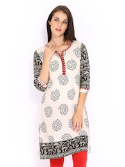 Anouk Women Off-White & Black Printed Kurta