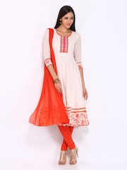 Anouk Women Off-White & Orange Printed Anarkali Churidar Kurta with Dupatta