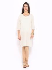 Anouk Women Off-White Pin Tuck Kurta
