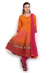 Anouk Women Orange & Pink Anarkali Churidar Kurta with Dupatta
