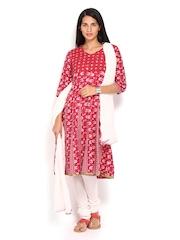 Anouk Women Pink & Off-White Printed Anarkali Churidar Kurta with Dupatta