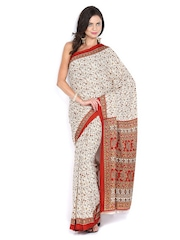 Beige & Brown Crepe Printed Saree Anouk