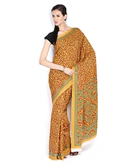 Orange & Mustard Brown Crepe Printed Saree Anouk