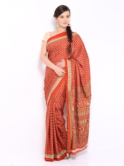Rust Brown Crepe Printed Saree Anouk