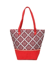 Anouk Women Red & Grey Tote Bag