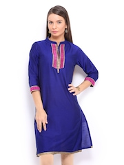 Anouk Women Royal Blue Art Silk Kurta