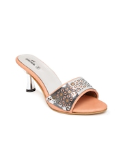 Anouk Women Silver-Toned & Peach-Coloured Heels