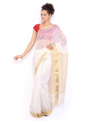 Anouk White Chanderi Cotton Onam Kasavu Saree