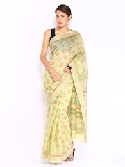 Anouk Green Printed Cotton Traditional Saree