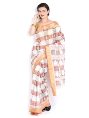 Anouk Off-White & Brown Gadwal Cotton Kasavu Onam Saree