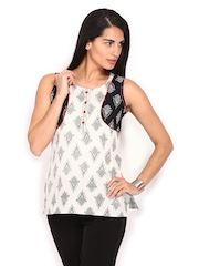 Anouk Women White & Black Printed Kurti