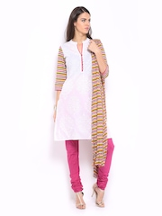 Anouk Women White & Pink Printed Churidar Kurta with Dupatta