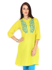 Anouk Women Yellow Embroidered Kurta