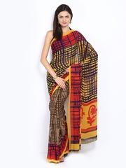 Yellow & Brown Georgette Printed Saree Anouk