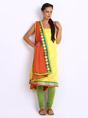 Anouk Yellow & Green Embroidered Chanderi Art Silk Unstitched Dress Material
