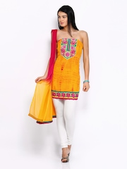 Anouk Yellow & Pink Georgette Semi-Stitched Dress Material