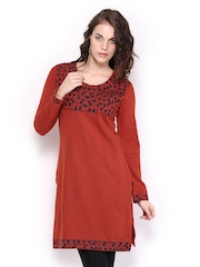 Anoul Women Rust Red with Navy Embroidered Woollen Kurta