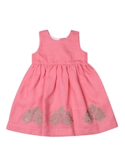 Aomi Girls Coral Pink Fit & Flare Dress