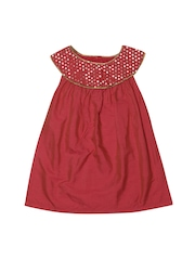 Aomi Girls Coral Red Moon Yoke Dress
