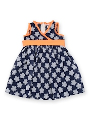 Aomi Girls Blue & White Floral Printed Fit & Flare Dress