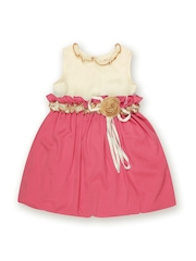 Aomi Girls Pink & Off-White Balloon Dress