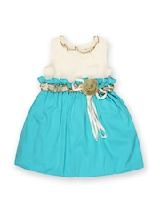 Aomi Girls Blue & Off-White Balloon Dress