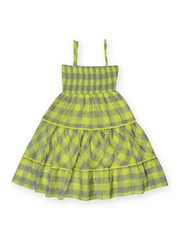 Aomi Girls Green & Grey Checked A-line Dress