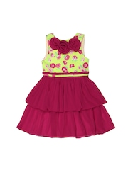 Aomi Girls Magenta Floral Printed Dress