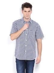 Arrow Sport Men Navy & White Checked Regular Sport Fit Casual Shirt