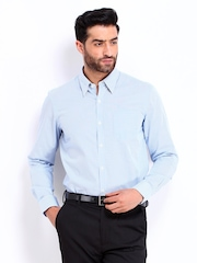 Arrow Men Blue & White Striped Slim Fit Smart-Casual Shirt