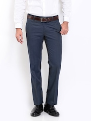 Men Blue Slim Fit Formal Trousers Arrow