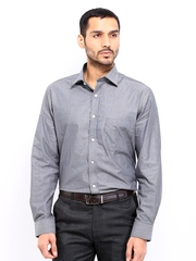 Men Grey & White Striped Premium Formal Fit Formal Shirt Arrow