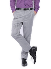 Men Grey Tapered Fit Formal Trousers Arrow