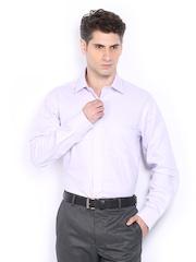 Men Lavender Coloured Striped Premium Formal Fit Formal Shirt Arrow
