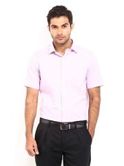 Men Light Pink & Grey Checked Slim Fit Formal Shirt Arrow