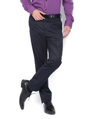 Men Navy Tapered Fit Formal Trousers Arrow