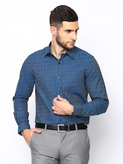 Arrow Men Teal Blue Striped Slim Fit Formal Shirt
