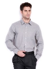 Arrow Men Grey Checked Slim Fit Formal Shirt