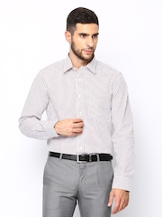 Arrow Men White & Maroon Striped Formal Shirt