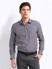 Arrow Men Purple & White Striped Slim Fit Smart-Casual Shirt