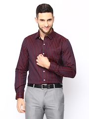 Arrow Men Burgundy & Red Striped Formal Shirt